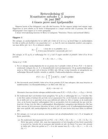 Rettevejledning til Kvantitative metoder 1, 2. ārspr0ve 18. juni 2007 ...