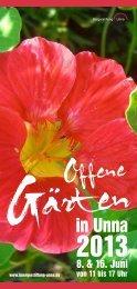 Broschüre Offene Gärten 2013 - Bürgerstiftung Unna