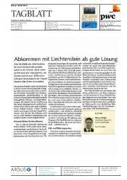 Abkommen mit Liechtenstein als gute Lösung - PwC