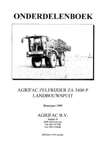 AGRIFAC ZETTRIJDFR ZA 3400 P LANDBOUWSPUIT AGRIFAC B.V.
