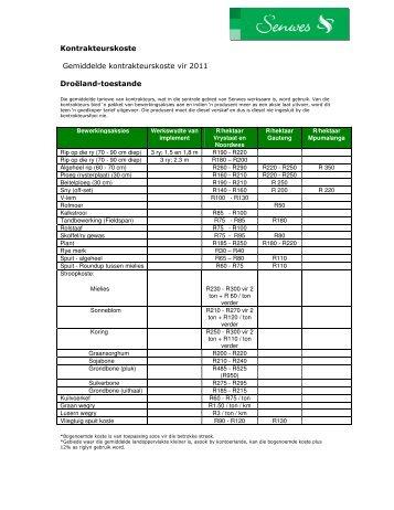 Kontrakteurskoste Gemiddelde kontrakteurskoste vir 2011 Droëland ...