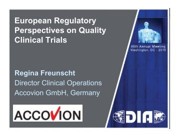 European Regulatory Perspectives on Quality Clinical ... - Accovion