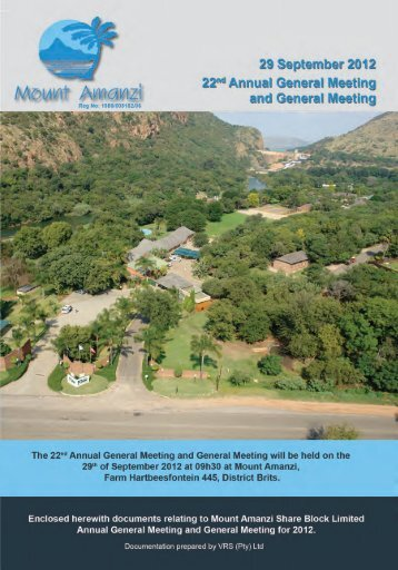 AGM 2012 Notice - Mount Amanzi