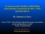 La sicurezza del Cittadino e della Polizia locale - Antoniolatorre.it
