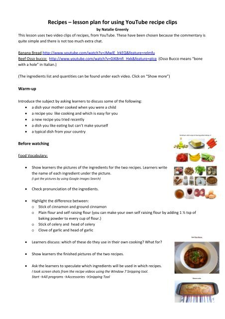 lesson plan for using YouTube recipe clips - English
