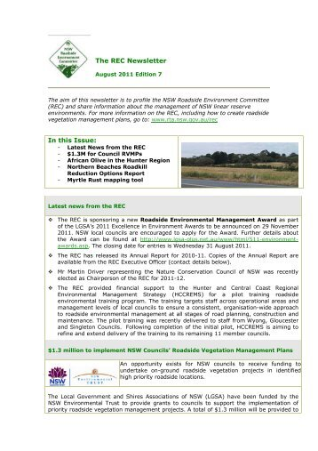 Roadside Environment Committee newsletter edition 7 - August 2011