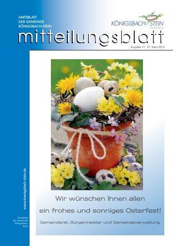 Amtsblatt Ausgabe 13/2013 - Gemeinde Königsbach-Stein
