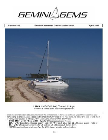 Volume 101 Gemini Catamaran Owners Association ... - Gemini Gems