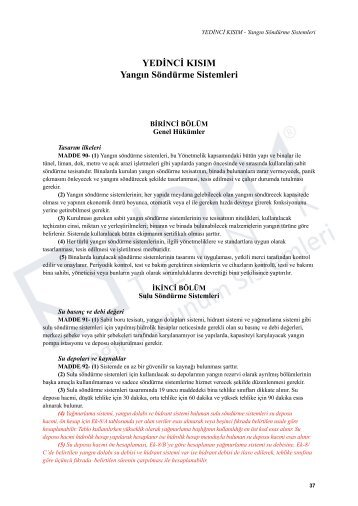 YEDİNCİ KISIM Yangın Söndürme Sistemleri - Norm Teknik