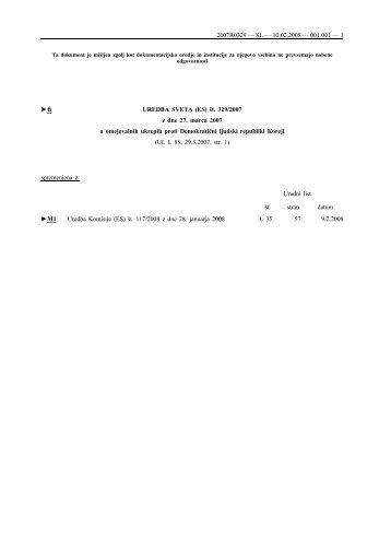 B UREDBA SVETA (ES) št. 329/2007 z dne 27. marca 2007 o ...