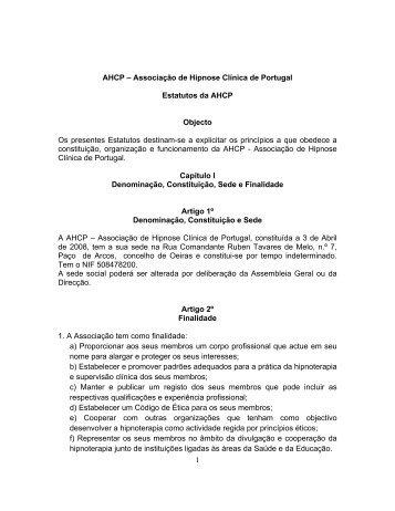 1 AHCP – Associação de Hipnose Clínica de Portugal Estatutos da ...