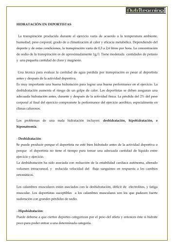 HIDRATACIÓN EN DEPORTISTAS La transpiración ... - NutriLearning