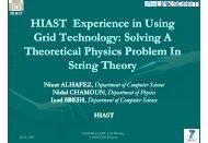 HIAST Experience in Using G id T h l S l i A G id T h l S l i A Grid ...
