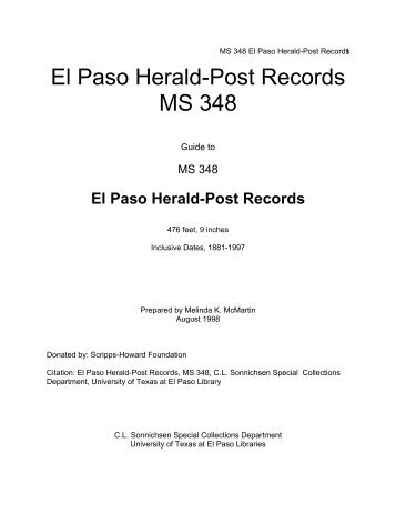 MS348 Herald-Post Records - University of Texas at El Paso Library