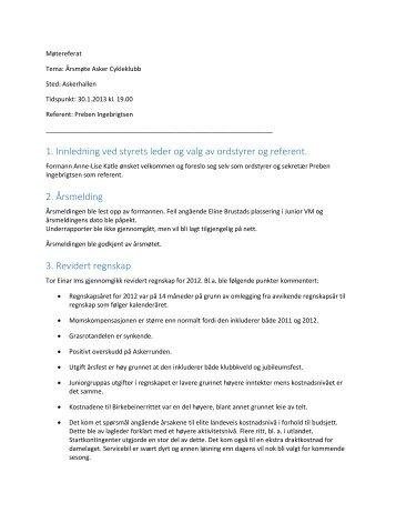 1. Innledning ved styrets leder og valg av ordstyrer og ... - Asker CK