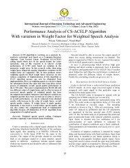 Performance Analysis of CS-ACELP Algorithm With ... - IJETAE