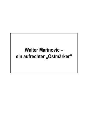 Walter Marinovic ? ein aufrechter ?ostmärker?