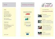 Informationsflyer Wege zum Beruf - Arbeit und Bildung eV