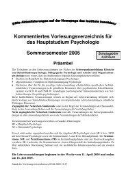 Kommentiertes Vorlesungsverzeichnis Hauptstudium SS 05