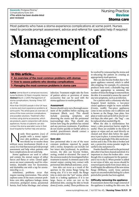 stoma nurse specialist