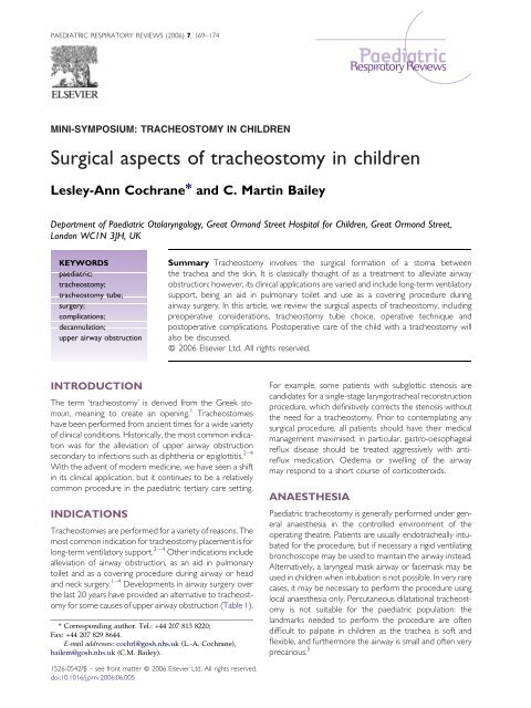 Surgical Aspects Of Tracheostomy In Children