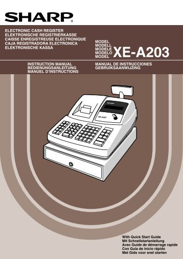 Uitgebreide handleiding SHARP XE-A203 - Kassa-Kassa