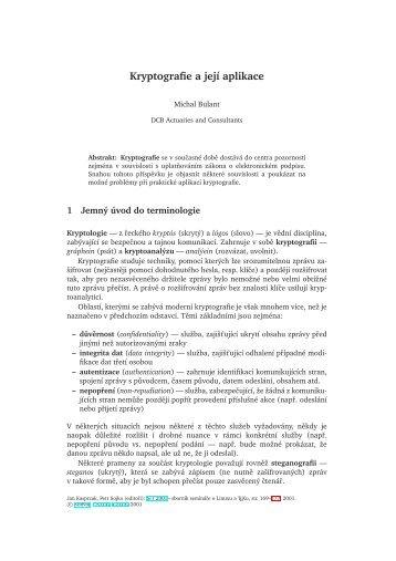 Kryptografie a její aplikace - CSTUG