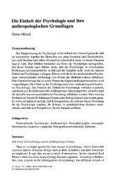 Die Einheit der Psychologie und ihre anthropologischen ... - SSOAR