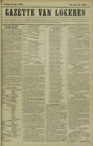 Zondag 30 Mei 1880. Jaar N° 1938. Lokeren