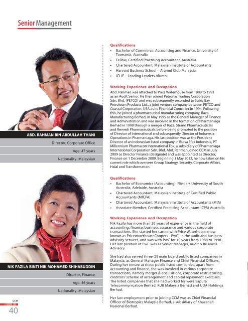 Senior Management - Chemical Company of Malaysia Berhad