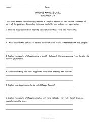 MUGGIE MAGGIE QUIZ CHAPTER 1-4 - Mrs. Agnew's Class
