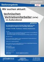 technischen Vertriebsmitarbeiter (m/w) - plasma GmbH