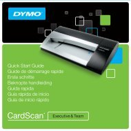 CardScan Executive & Team Quick Start Guide - Dymo