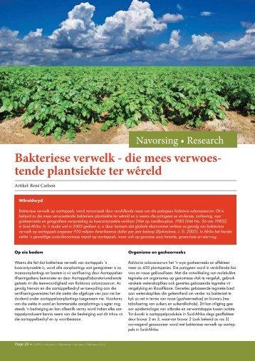 Bakteriese verwelk - Potatoes South Africa