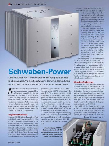 Schwaben-Power - Accustic Arts
