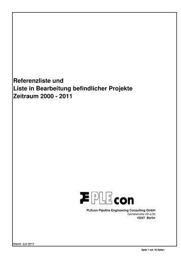 Referenzliste und Liste in Bearbeitung befindlicher Projekte ...