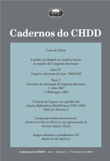 Cadernos do CHDD Nº 03 - funag