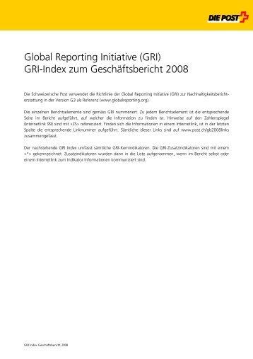 Global Reporting Initiative (GRI) - Swiss Post