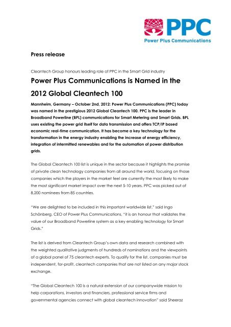 Power Plus Communications is Named in the 2012 Global