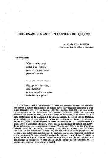 Tres Unamunos ante un capítulo del Quijote - Gredos