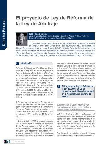 El proyecto de Ley de Reforma de la Ley de Arbitraje - Cuatrecasas