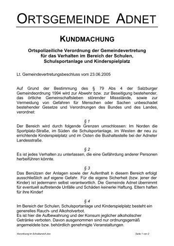 KUNDMACHUNG Ortspolizeiliche Verordnung der - Adnet