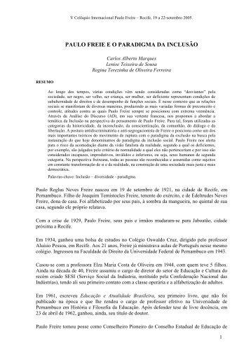 paulo freie e o paradigma da inclusão - Centro Paulo Freire ...