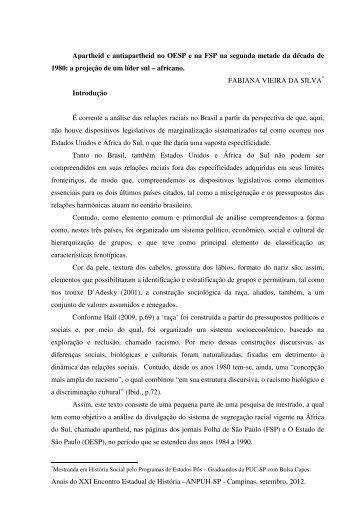 Fabiana Vieira da Silva - ANPUH-SP - XXI Encontro Estadual de ...