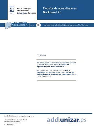 Módulos de aprendizaje en Blackboard 9.1 - Universidad de Zaragoza
