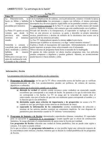 """UMBERTO ECO- """"La estrategia de la ilusión"""" - En Comunicación"""