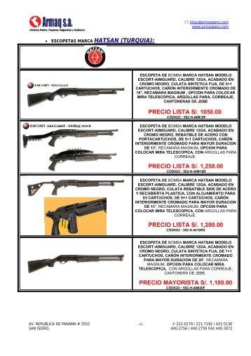 • ESCOPETAS MARCA HATSAN (TURQUIA): PRECIO ... - Armaq S.A.