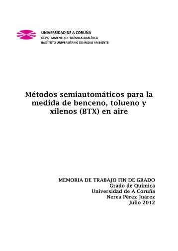 Métodos semiautomáticos para la medida de benceno ... - RUC