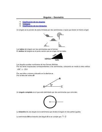 Un ángulo es la porción de plano limitada por dos semirrectas o ...