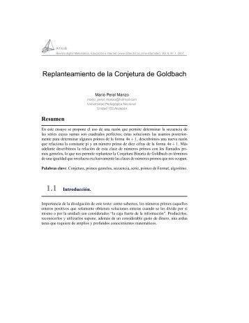 Replanteamiento de la Conjetura de Goldbach - TEC-Digital